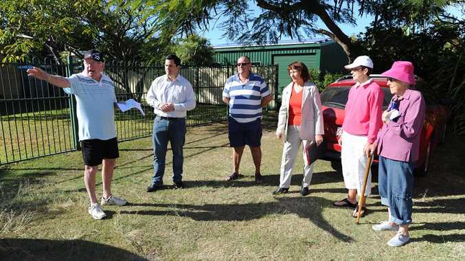 Fraser Coast councillor Stuart Taylor (second from left) listens to the concerns of Barry Hyne, Allan Paterson, Dot Douglas from the Scarness Action Group, Jean Hyne and Betty Davidson about the East Street Kindergarten's plans to seal part of Barron Park for a car park.