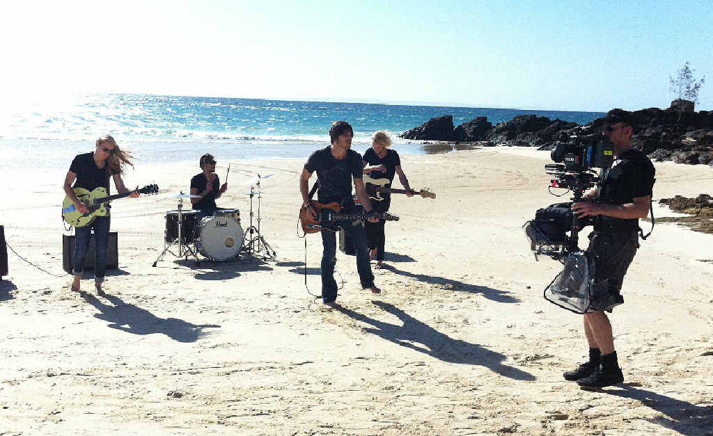 Scenes from Morgan Evans' video shoot at Double Island Point recently.
