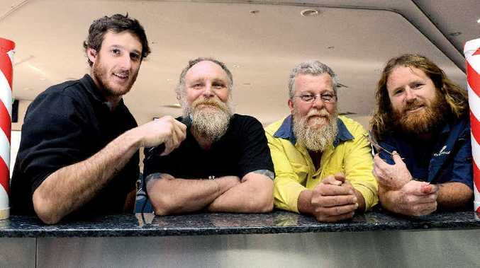 GET IT OFF: Shaving their beards for charity on Friday at the East Lismore Bowling Club are, from left, John Brown of Goonellabah, Robert Livingstone of Lismore, Mark Harding of Lismore, and Gavin Bourke of Lismore.