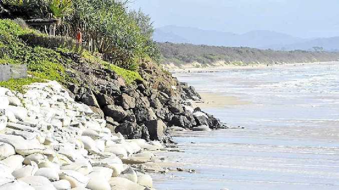 DEFENCES: Belongil Beach, showing erosion control measures.