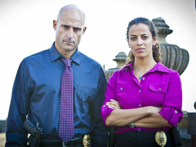 Mark Strong and Athena Karkanis in a scene from the TV series Low Winter Sun.