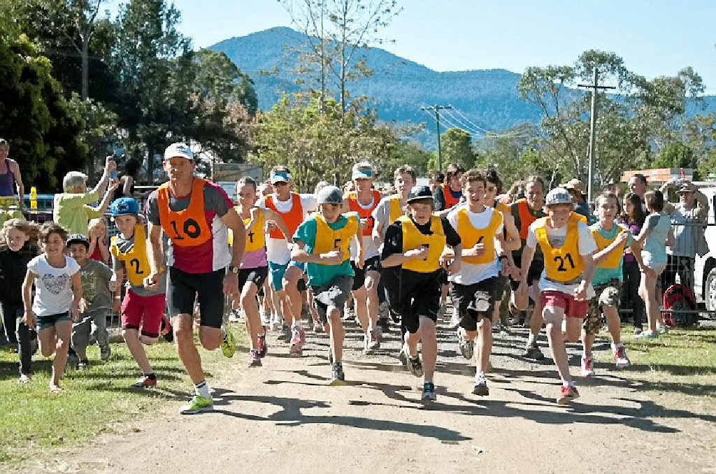 RACING AHEAD: Participants in last year's Nimbin Fun Run. The 2013 run will be held at the Nimbin showgrounds on Sunday. Photo: CONTRIBUTED