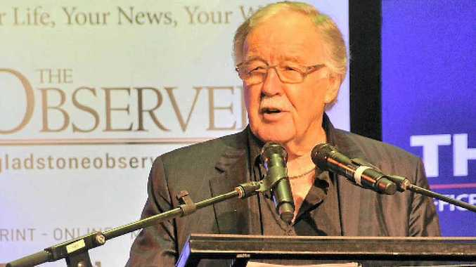 LONG CAREER: Journalist George Negus speaks at a business breakfast at the Gladstone Entertainment Centre Marina Marquee on August 21.