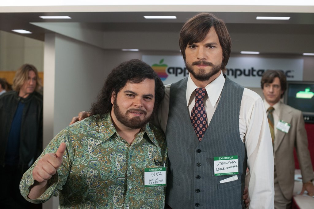 Josh Gad (left) and Ashton Kutcher and in a scene from the movie Jobs.