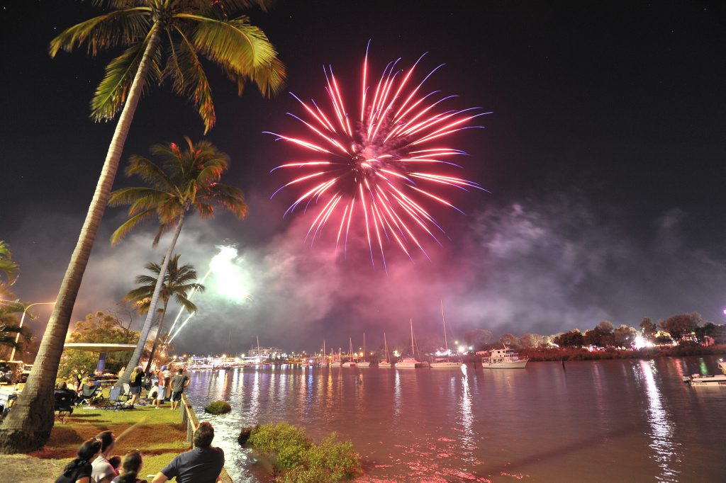 Cement Australia's fireworks display at the Gladstone Harbour Festival.