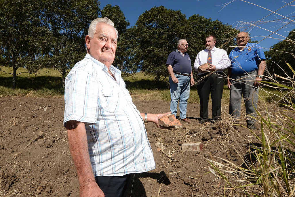 NOT HAPPY: Redbank RSL member Bill Bowtell (front) with George Rant, Cr Paul Tully and Rick Gross at the site where Main Roads have destroyed a Second World War remnant.