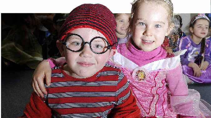 DRESSING UP: Eddie Garrard, 4, and Audrey Alley, 5, at Bumblebee Early Education Centre during Book Week.