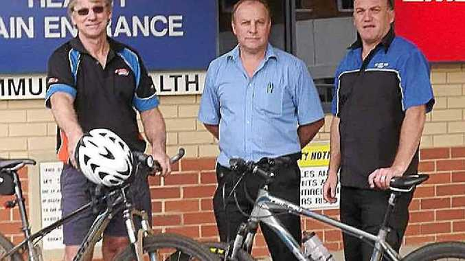 ALONG FOR THE RIDE: Darryl Pederson, Marcel Little and Greg Watson are raising money for Kyogle, Urbenville and Bonalbo hospitals.