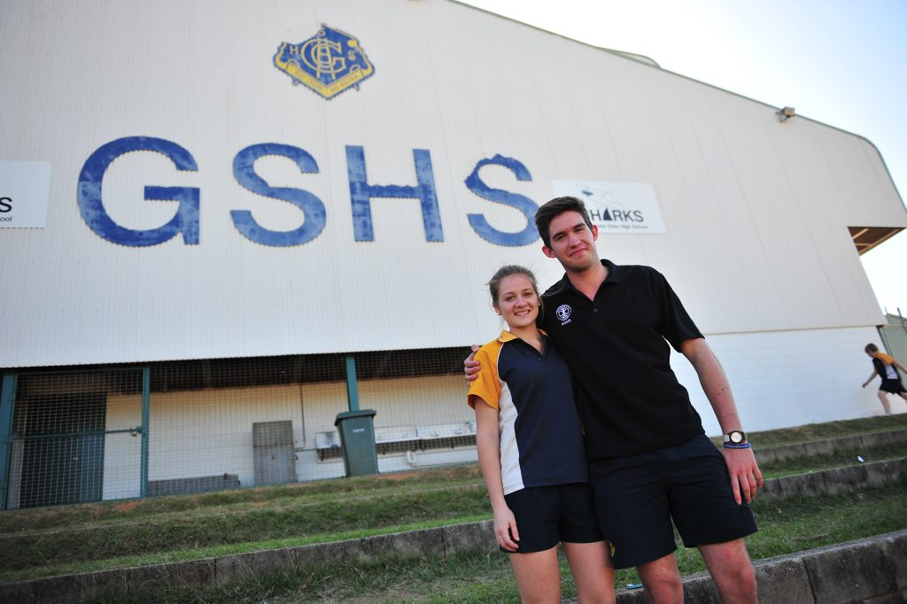Gladstone State High School captains Rita Boyd and Andrew McLean are looking to stamp out bullying with the school's mental health awareness campaign. Photo Christopher Chan / The Observer