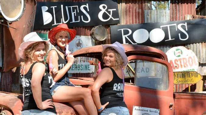 READY TO ROCK: Twin Nicole Baillie (Candy), Muster virgin Neiketa Kelly (Macca) and Renee Baillie (Randy) at the Gympie Muster yesterday.PHOTO: TANYA EASTERBY