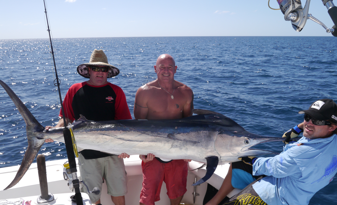 AWESOME CATCH: Fisherman Stuart Burgess, Hollywood Moore, Ryan Kenny and Wayne Juppenlatz (not pictured) took advantage of the recent ideal conditions to catch this estimated 80kg black marlin at the reef.