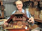 Phil Hoffman services an eight-day cuckoo clock in The Clock Shop in Montville. He has been in the business for more than 20 years.