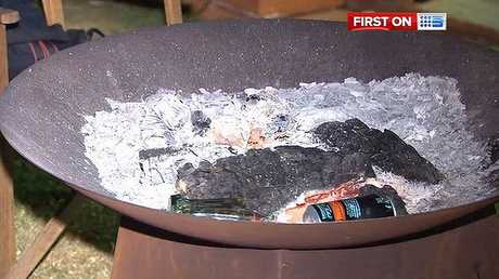 The fire pit that flammable liquid was poured into, causing an explosion that left two teens badly burnt.