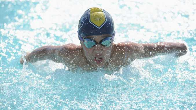 Jamie Duyst competes in the 11 y/o 50m butterfly in the Heritage City Short Course Meet at the weekend.