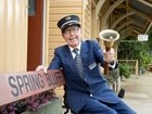 Ralph Hickey the acting station master of Spring Bluff Railway Station. Photo Nev Madsen / The Chronicle