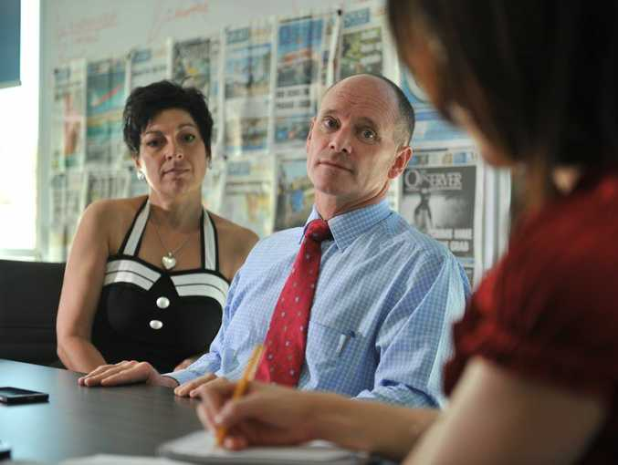 Queensland Premier Campbell Newman and his wife Lisa Newman at The Observer office, Gladstone.