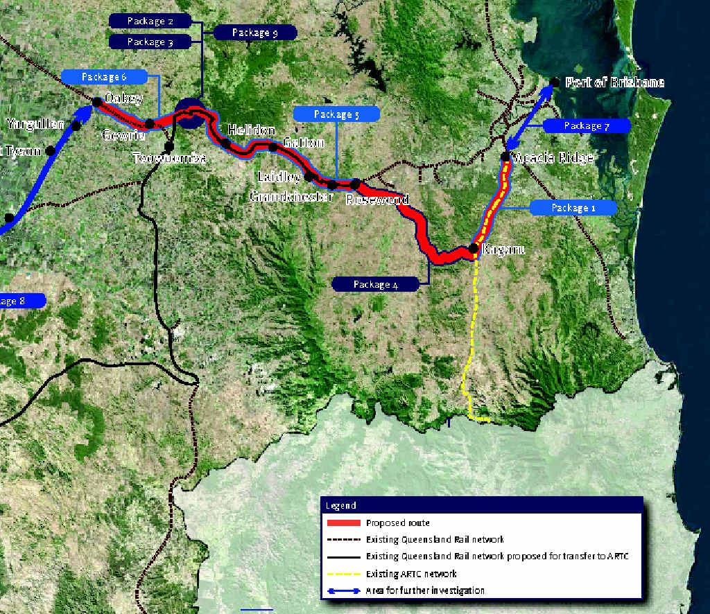 RAIL PROPOSAL: This map details the changes to the route of coal trains travelling east from Queensland coal fields to the Port of Brisbane.