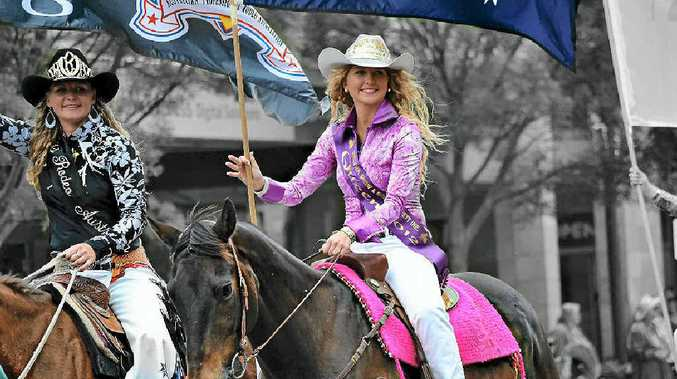 RODEO QUEENS: Miss Rodeo Australia Bobbi-Jo Gesler, left, and Warwick Rodeo Queen 2012 Ella Waugh during the Rodeo Street Parade in Warwick last year.