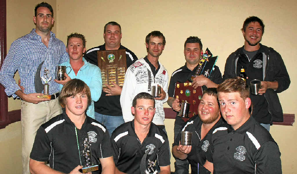 TROPHIES: Warwick Water Rats trophy winners (back, from left) Dave Young, Matt Wheatley, Neil McCosker, Chris Crouch, Adrian Spry, Brad Johnson, (front) Harley Beckhouse, Nathan Watt, Craig Pettiford and Cameron Martin-Brown.