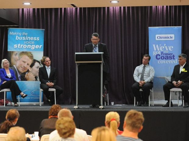 Hinkler election candidates Leanne Donaldson (Labor), Troy Sullivan (Family First), Keith Pitt (LNP), David Dalgleish (Katter's Australian Party) and Rob Messenger (Palmer United Party) answer questions at a forum held at the Hervey Bay RSL.