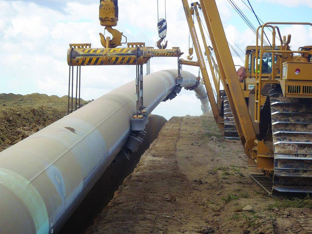Pipeline being laid near Mt Alma in August. The pipeline-laying project is now complete.