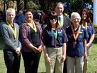 Fraser Coast Regional Council principal officer recreation services Denise Cox, Maryborough Showgrounds and Equestrian Centre manager Thea Griffin, Mayor Gerard O'Connell, Maryborough West Scout Group's Tanya Howard-Osborne, (front row) Maryborough West Scout Group's Charlee Howard-Osborne and Bauple Scout Group's Sandra Tomlison receiving awards from the Scout Association of Australia.