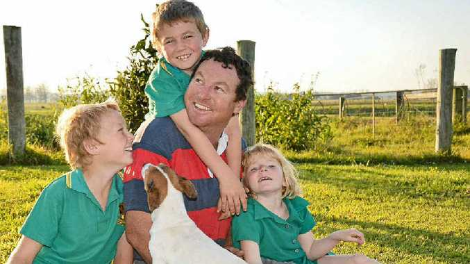 DAD'S DAY: Kev Hebblewhite and his kids Angus, 11, Dougal, 8 and Maddy, 6. PHOTO: GEORJA RYAN
