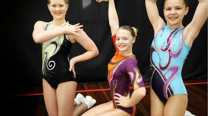 ENGLAND BOUND: Maddi Kerr, Matilda Narvo and Chelsea Clark are off to England to compete in a gymnastics competition.