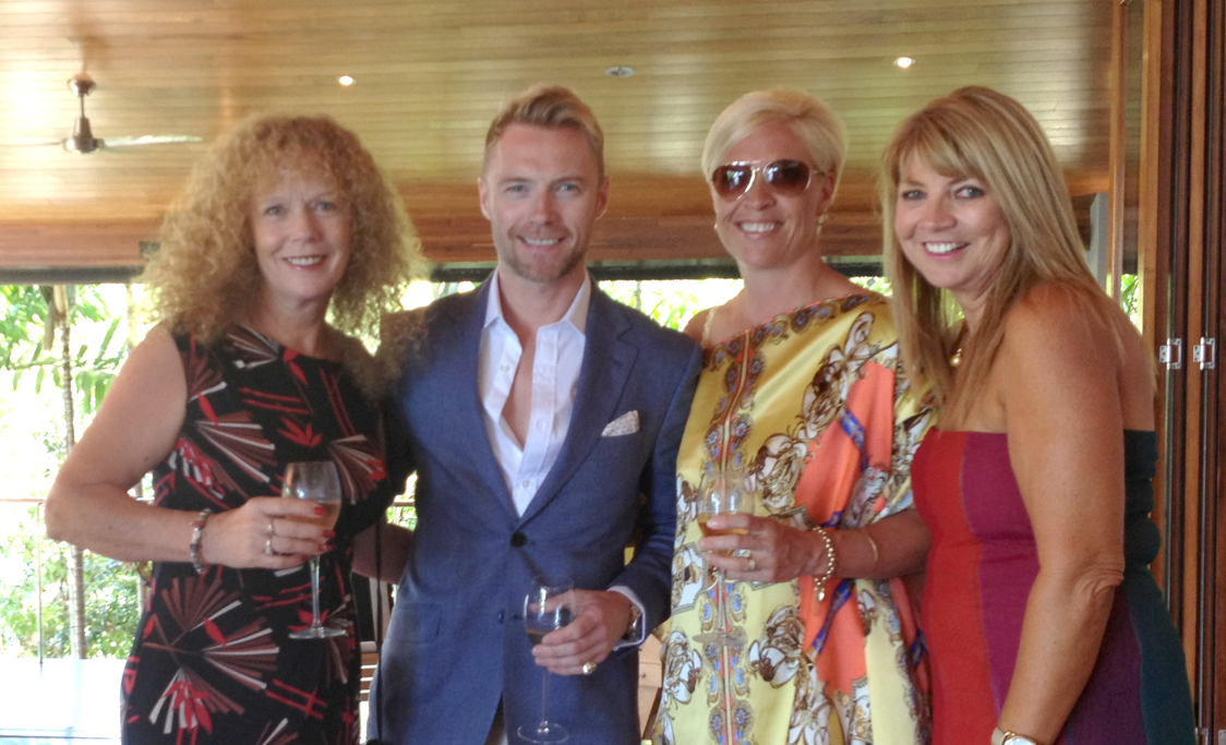 MEMORABLE MOMENT: Whitsunday residents Shirley Wodson (left), Lynette Corne and Annette Pickering met pop star and X Factor judge Ronan Keating on Hamilton Island last week.