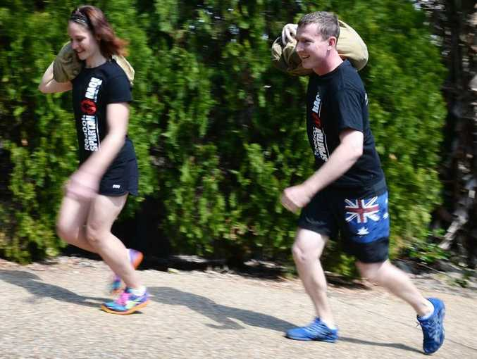 Katie and Tim Griffin training for their next extreme event. Photo Allan Reinikka / The Morning Bulletin