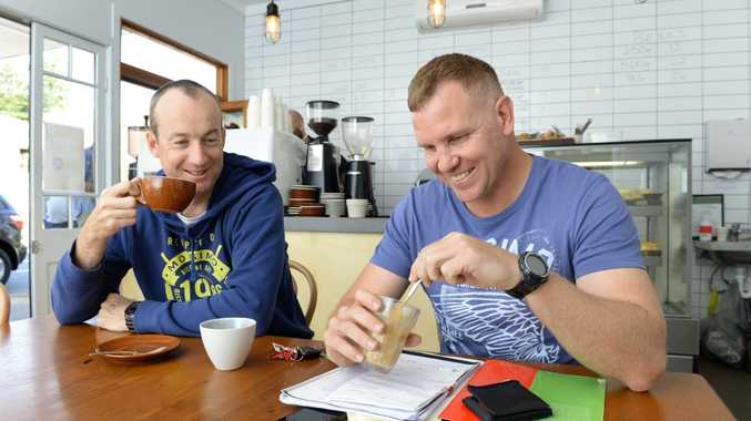 COFFEE FANS: Steve Watson and Nathan Ward enjoy a coffee at Smith. What does their coffee say about them? A new report released will tell all.