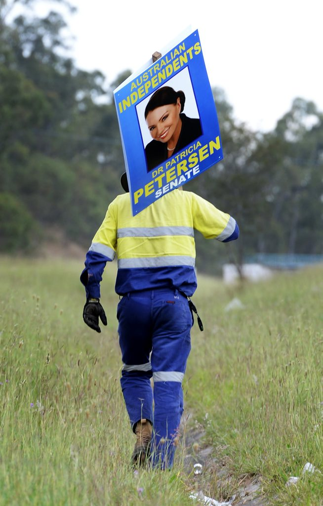 Patricia Petersen's sign is removed from the Cunningham Highway near Swanbank. Photo: Rob Williams / The Queensland Times