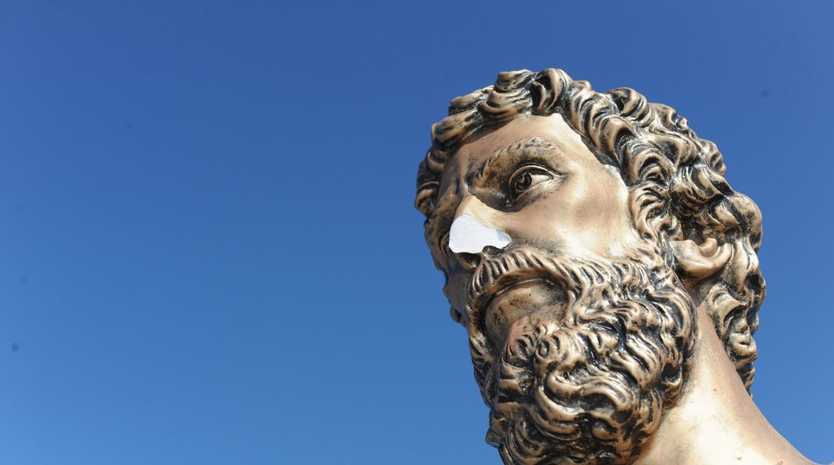 The statue of St Peter was only unveiled a month ago and has had its nose, hand and one of the plaques removed by vandals.