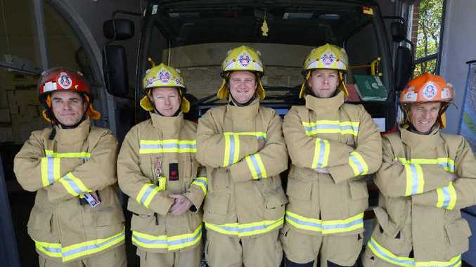 COMMUNITY MINDED: Grafton firefighters (from left) Col Drayton, Chris Rumpf, Will Boyd, Gavin White want to find new recruits for the fire service. Photo: Adam Hourigan