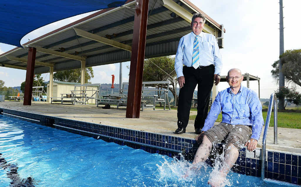 FUNDING PLEDGE: Somerset Mayor Graeme Lehmann and Federal Member for Blair Shayne Neumann at the announcement of $219,000 worth of funding for the Lowood pool.