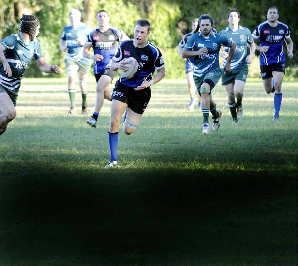 ON THE RUN: Ballina player Sam Giltrap makes a dash in a recent Ballina v Lismore rugby union game.