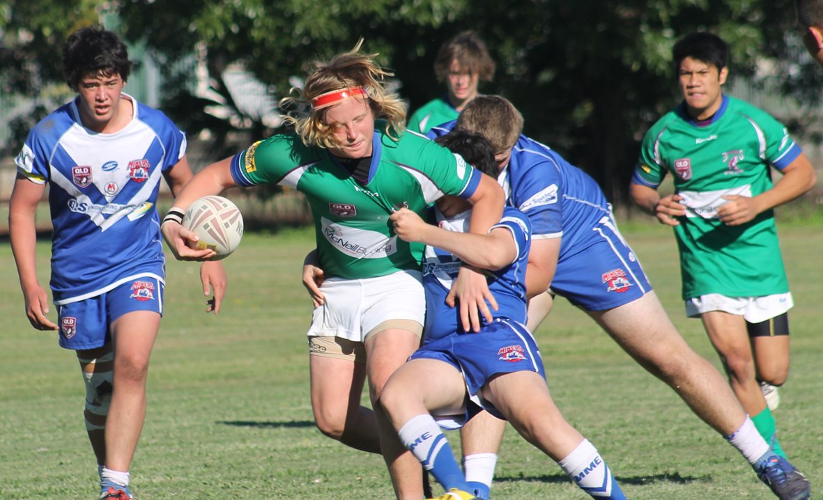 PUSHING THROUGH: Proserpine Brahmans under-18s player Kade Breen takes it forward earlier in the year. The Brahmans season is on the line this weekend in an eliminational final against Mackay Brothers.