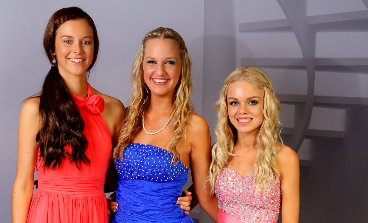 GLAMMED UP: Proserpine State High School students Kate Robb, 14, Jordan Matthews, 15 and Paris Marshall, 15 competed in the finals of the 2013 RACQ Central Queensland Model Search in Mackay on the weekend. Photo by Sue Considine
