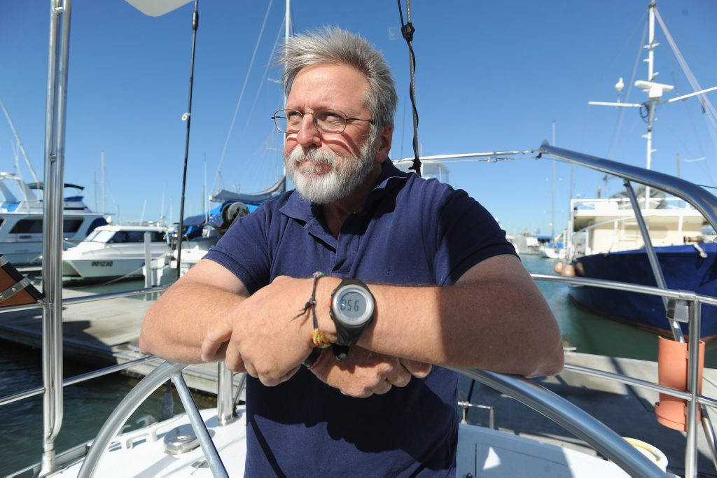 Ed Gibson (Hervey Bay Boat Club gen/mgr) heading off around the world in a yacht race. Photo: Alistair Brightman / Fraser Coast Chronicle