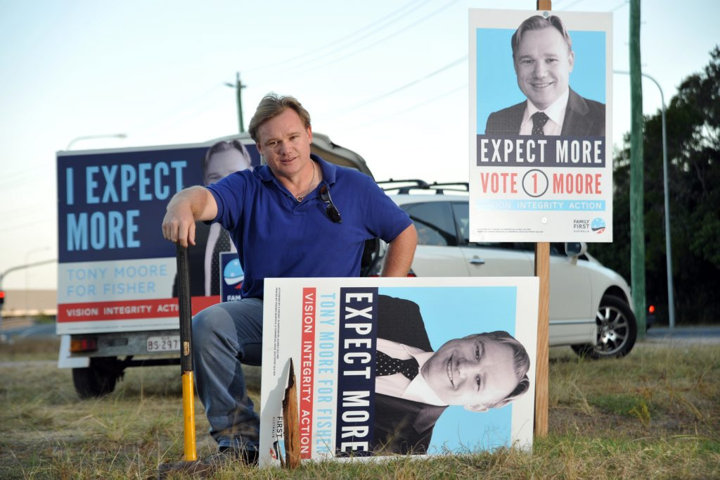 Candidate Tony Moore says the LNP is up to old tricks by stealing signs - one of his has been stolen and the wooden support broken on Millwell Road, Maroochydore.