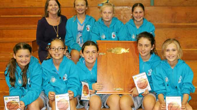 BIG IMPROVERS: The Ballina Breakers Under-12 girls basketball team, back row from left, coach Eva Ramsey, Ellie Roberts, Tarnie Hilyard, Rebecca Rushby; front, Jorja McQueen, Jenayah McCosker, Sian McCowan, Hannah Kelly, Isla Ewald