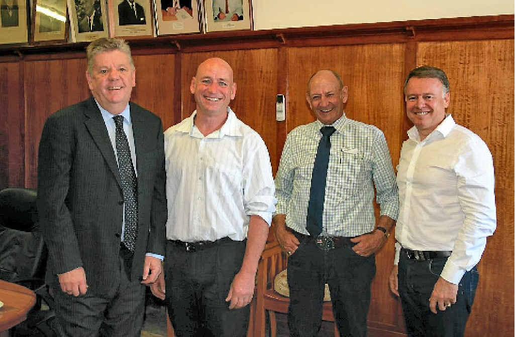 SBRC Mayor Wayne Kratzmann, ALP candidate Chris Trevor, NBRC Mayor Don Waugh and Agriculture Minister Joel Fitzgibbon in Gayndah.