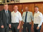 SBRC Mayor Wayne Kratzmann, ALP candidate Chris Trevor, NBRC Mayor Don Waugh and Agriculture Minister Joel Fitzgibbon in Gayndah.