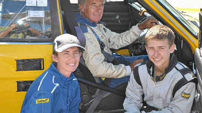 Bill Campbell, pictured with his daughter Teresa Campbell and Matt Campbell, will take part in his first race at Morgan Park in two and half years this weekend.