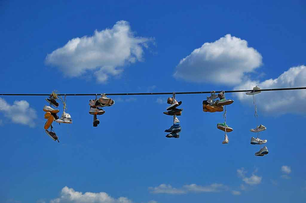 Shoe flinging is popular in Newtown.