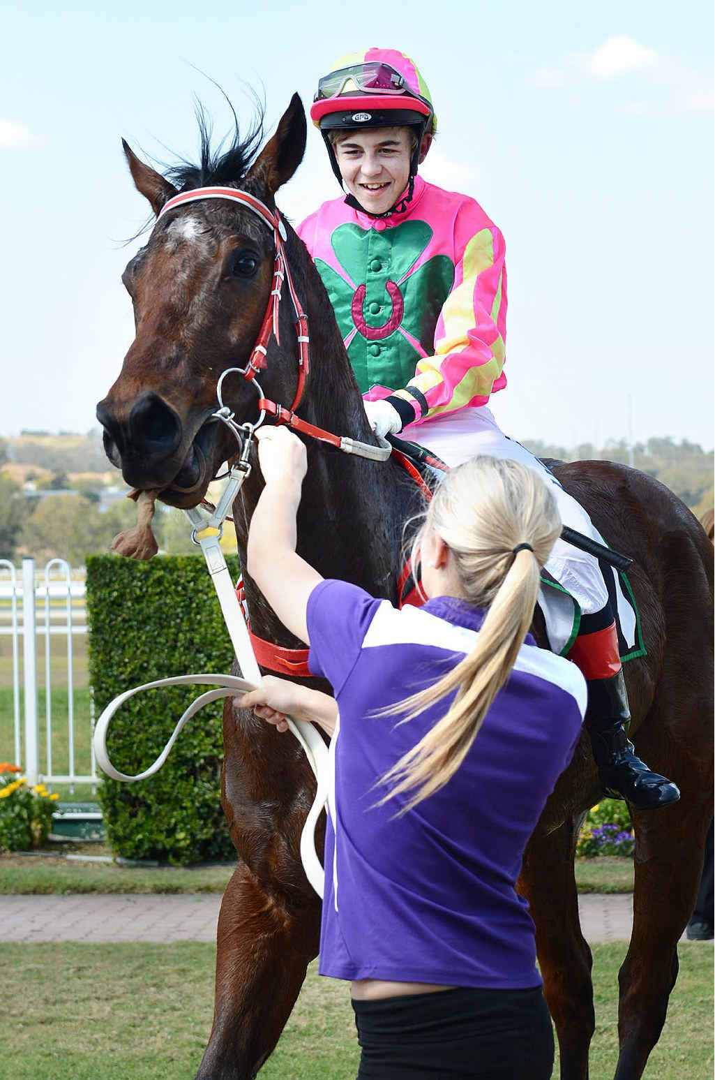 HOT PROSPECT: Red Hot de Lago returns to the winners' stall after the Swich On Inc Handicap (1000m) at Ipswich racetrack.