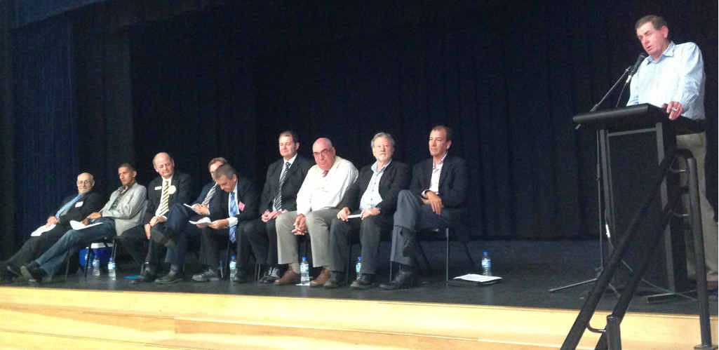 ON THE ROAD AGAIN: Candidates for Fisher watch as Peter Slipper addresses the meeting this week.