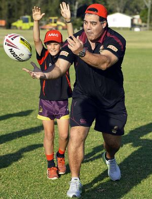 Maroons coach Mal Meninga passed on some tips to Laidley Lions Junior Rugby League players.