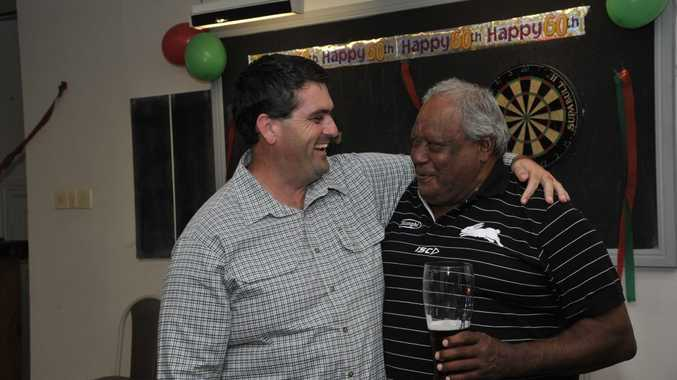 Clarence Valley Council Mayor Richie Williamson with his mate Bunny Daley, the unofficial Mayor of South Grafton, at the celebrations for Bunny Daley's 60th Birthday at the Great Northern Hotel in December 2011. Photo: JoJo Newby/The Daily Examiner