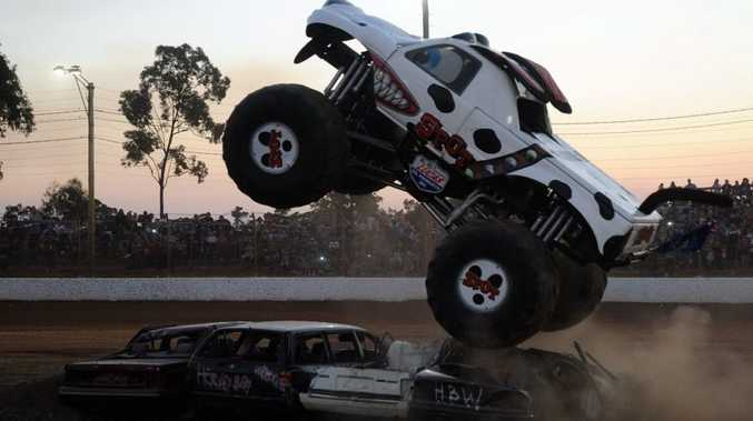 Spot the monster truck crushes cars at the Maryborough Speedway.